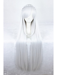 32Inches Long Straight Silver White Life in a Different World From Zero Emilia Anime Cosplay Wigs CS-288A