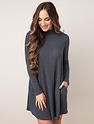 Women's Going out / Casual/Daily Simple / Street chic Loose DressSolid Large Size Loose Round Neck Above Knee Long Sleeve