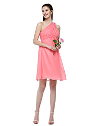 cheap -A-Line One Shoulder Knee Length Chiffon Bridesmaid Dress with Pleats by LAN TING BRIDE®