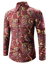 HOT S-5XL Plus Size Men's Casual/Daily Simple Summer ShirtSolid Shirt Collar Long Sleeve Blue Pink Red Black Medium