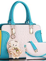cheap -Women Bags PU Shoulder Bag 2 Pieces Purse Set for Casual Light Green Light Purple Pinky