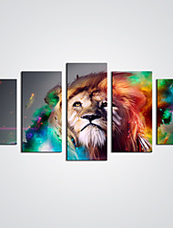 Недорогие -С картинкой Холст для печати - Абстракция Животные Modern 5 панелей