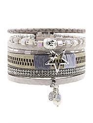 Bracelets en cuir Amitié Mode Bohême Fait à la main Cuir Strass Alliage Forme de Fleur Forme d'Etoile Bijoux Pour Mariage Soirée Occasion