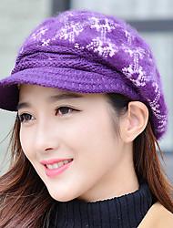 chapéu de basebol ao ar livre quente coelho impressão do floco de neve proteção de orelha pele do inverno mulheres
