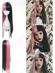 cheap -Melanie Martinez Wig Long Straight Pink Black Braids Synthetic Hair Cosplay Full Wig Heat Resistance Women's Party Wig Heat Resistant