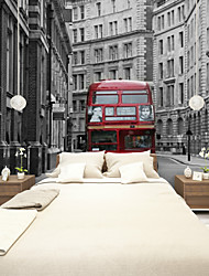 JAMMORY Art DecoWallpaper For Home Wall Covering Canvas Adhesive required Mural European Street Bus Landscape XL XXL XXXL