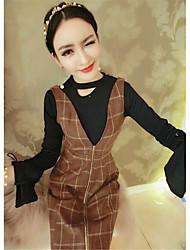 firmare 2017 manicotto del corno che basa la camicia + dress plaid vestito