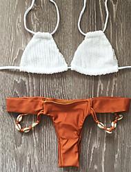 billige Badedrakter og bikinier-Dame Heklede fletter Grime Trekant Bikini G-streng Ensfarget