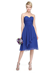 A-Line Sweetheart Knee Length Chiffon Bridesmaid Dress with Draping Ruching Criss Cross by LAN TING BRIDE®