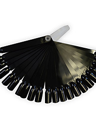 cheap -1set 24tips Black/Natrual Nail Art Fan Board Manicure Tools With Plastic Handle Nail False Tips For UV Polish Decoration Random Delivery