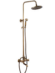cheap -Antique Tub And Shower Rain Shower Widespread Ceramic Valve Two Holes Two Handles Two Holes Antique Brass, Shower Faucet