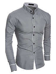 cheap -Men's Daily Casual All Seasons Shirt,Solid Standing Collar Long Sleeves Cotton Polyester