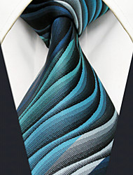 cheap -Y23 Men's Neckties Green Geometrical Stripes 100% Silk Business New Casual Classic