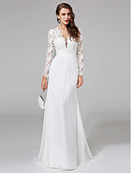 Sheath / Column V-neck Sweep / Brush Train Chiffon Lace Wedding Dress with Lace Button by LAN TING BRIDE®
