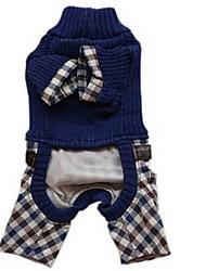 abordables -Perro Abrigos Ropa para Perro Un Color Azul Oscuro Algodón Disfraz Para mascotas Hombre Mujer Bonito Casual/Diario