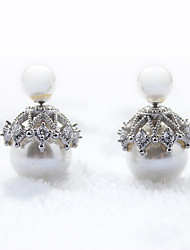 cheap -Earring 925 Sterling Silver Imitation Pearl Double Stud Earrings Jewelry Wedding Party Daily Casual