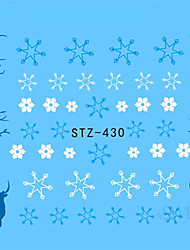 1pcs Beautiful Christmas Nail Water Transfer Decals Sweet Sticker Beautiful Snowflakes Cute Xmas Deer Design Nail Beauty Tip STZ-430