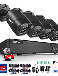 ANNKE® 4CH 1080N Video Security System with 1TB Hard Drive and (4) 1.0MP Weatherproof Cameras