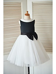 cheap -Princess Knee Length Flower Girl Dress - Satin Tulle Sleeveless Cowl Neck with Bow(s) Buttons Sash / Ribbon by LAN TING BRIDE®
