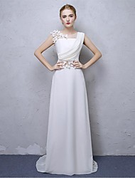 Sheath / Column Scoop Neck Sweep / Brush Train Satin Chiffon Formal Evening Dress with Flower(s) by Embroidered bridal
