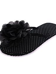 Women's Slippers & Flip-Flops PU Summer Casual Outdoor Satin Flower Flat Heel White Black Purple Fuchsia Ruby Flat
