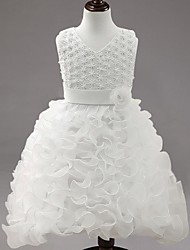 cheap -Ball Gown Knee Length Flower Girl Dress - Organza Sleeveless V-neck with Applique by YDN
