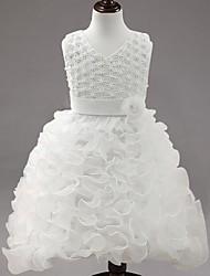 Vestido de baile com vestido de bola vestido de menina com flor - organza com decote em v sem mangas com applique by ydn