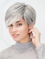 cheap -Comfortable Short Natural Straight Grey Haircut Ombre  Capless Human Hair Wig For Girls And Women 2017