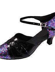 cheap -Women's Latin Modern Sparkling Glitter Leatherette Sandal Indoor Performance Professional Beginner Practice Customized Heel Black/Blue