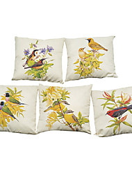 cheap -Set of 5 American country simple flowers and  birds  Linen Pillowcase Sofa Home Decor Cushion Cover (18*18inch)