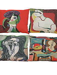 "cheap -Set of 4The World Famous Painting Color Picasso Nordic Minimalist Cushion Cover (18""*18"")"