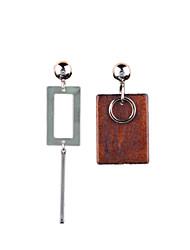 preiswerte -einfache geometrische Mode Metall Holz Ohrringe klassischen weiblichen Stil