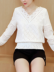 Going out Beach Holiday Sexy Street chic Sophisticated Spring Summer Blouse,Solid V Neck Long Sleeve White Others Thin