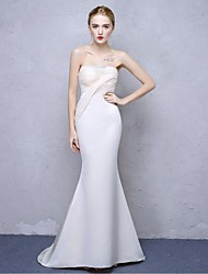 Mermaid / Trumpet Strapless Sweep / Brush Train Satin Chiffon Formal Evening Dress with Bandage by Embroidered bridal