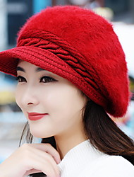 Autumn And Winter Girl Rabbit Hair Fashion Pure Color Berets Warm Knitted Wool Baseball Cap