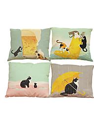 Set of 4 Pet cat pattern  Linen Pillowcase Sofa Home Decor Cushion Cover