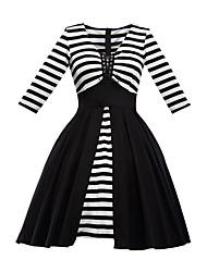 Women's Fine Stripe Party Vintage Sheath Dress,Striped Square Neck Knee-length ¾ Sleeve Cotton Polyester Black Summer High Rise Micro-elastic