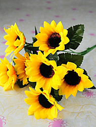 6 Heads/Branch Rural Style Silk Cloth Simulation Sunflowers Yellow