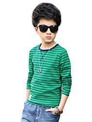 Boys' Daily Striped Print Tee,Cotton Spring Summer All Seasons Long Sleeve Stripes Green Black Red