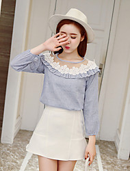Women's Dailywear Date Classic & Timeless Summer Blouse Skirt Suits,Flower Round Neck Long Sleeve Floral Style Inelastic