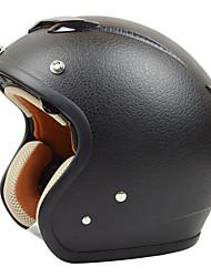 REUS ZS-381C Motorcycle Half Helmet Retro Harley Helmet Imitation Leather Pattern ABS Material