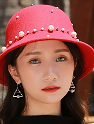 cheap -Spring Autumn England Pure Color Jazz Woolen Hat Cap Dome Rivets Pearl Small Hat