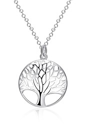 Women's Pendant Necklaces Statement Necklaces Circle Geometric Tree of Life Silver Plated Fashion Costume Jewelry Jewelry For Daily