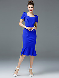 ZIYI Formal Party/Cocktail Simple Trumpet/Mermaid DressSolid Square Neck Knee-length Short Sleeve Polyester Blue Spring Summer Mid Rise