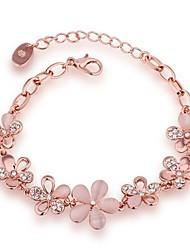 Chain Bracelet Natural Friendship Fashion Vintage Bohemian Punk Hip-Hop Turkish Synthetic Gemstones Zircon Opal Rose Gold Plated Alloy
