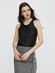 cheap -Women's Europe Popular Solid T-shirt , Casual/Work Round Neck Sleeveless