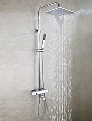 economico -Moderno Montaggio su parete Cascata Docetta inclusa Termostatico Valvola in ottone Due maniglie Tre fori Cromo , Rubinetto doccia