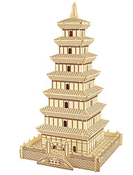 cheap -Jigsaw Puzzles Wooden Puzzles Building Blocks DIY Toys Big Wild Goose Pagoda 1 Wood Ivory Model & Building Toy