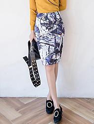 preiswerte -Damen Übergrössen Retro Bodycon Röcke Gespleisst Druck
