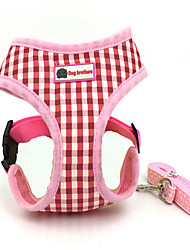 cheap -Dog Harness Safety Plaid/Check Fabric Coffee Blue Pink